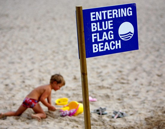Blue Flag beach sign