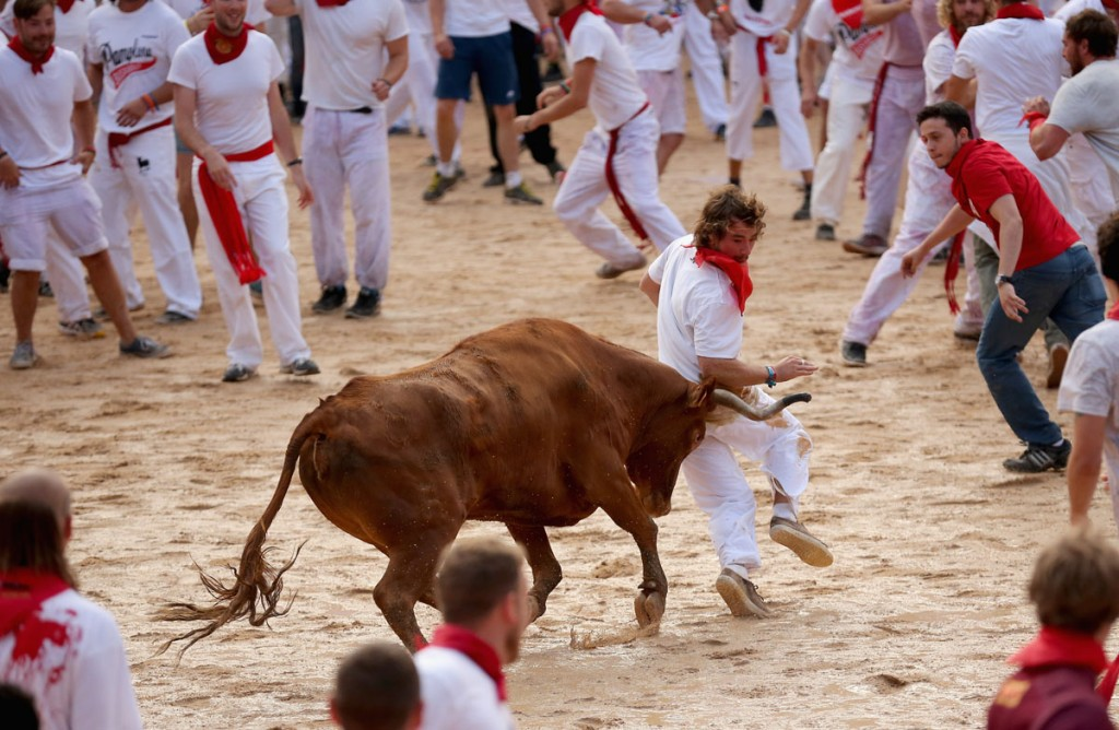 Running of the bulls on San Fermin Festival - Pamplona, Spain