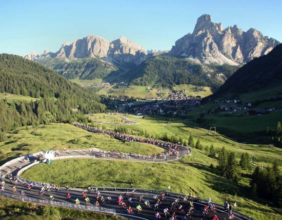 Road cycling amongthe Dolomites, Italy