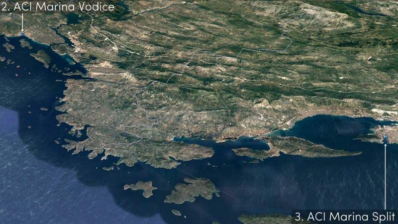 vodice to split sailing route