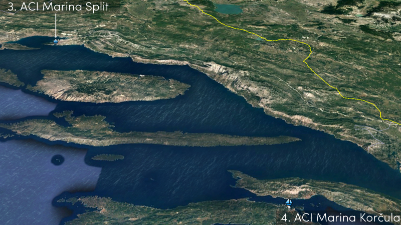 split to korcula sailing route