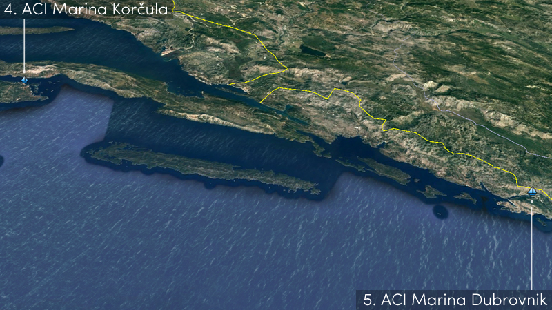 korcula to dubrovnik sailing route
