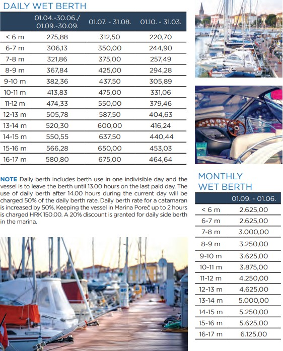 marina porec price list